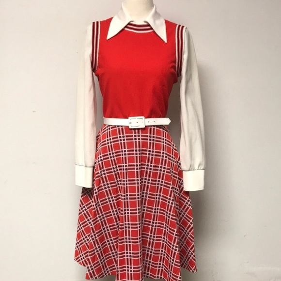 Authentic Original Vintage Style Dresses & Skirts - Vintage 60's Plaid Secretary/schoolgirl  Day Dress